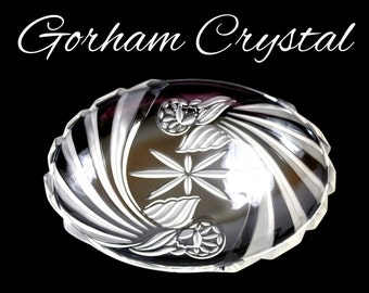 Vintage Gorham Crystal Platter, Holiday Traditions, Angels of Peace, Crystal Serving Tray, Crystal Meat Platter, Gift For Her