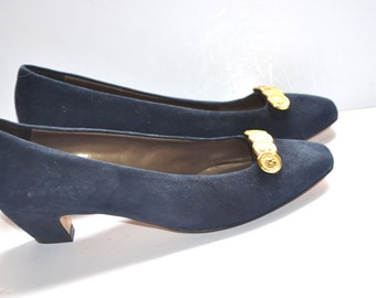 Stuart Vaneli 80s Women dark blue suede leather shoes coin decorations heels  8 1/2 M Made in Italy Holiday party shoes Gift for her NEW