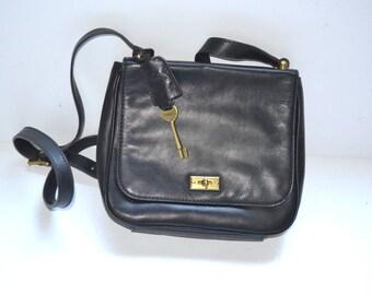 90s vintage designer black leather small  purse by Fossil messenger shoulder crossbody bag unisex bag small travel bag