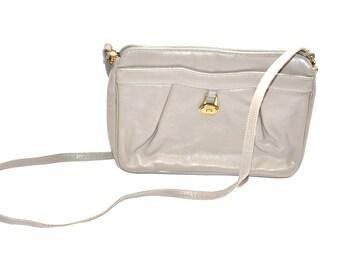 80s vintage purse Etienne Aigner gray  Lather  Crossbody Shoulder Bag messenger bag,  satchel Mother's Day gift