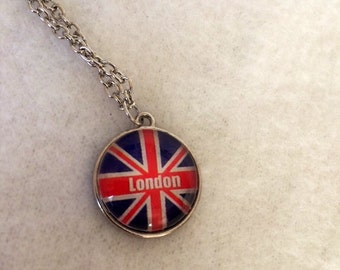 Round Union Jack Charm Necklace - London- Great Britain - England - Anglophile - Flag - Teacher - Summer - Graduation - Christmas in July
