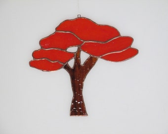Stained Glass Tree of Life (large) Suncatcher Red - Price Includes Shipping