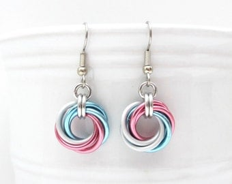 Transgender pride earrings, love knot chainmail earrings, trans pride jewelry; pink, white, blue