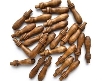 5 vintage wood wooden pegs, reclaimed wood, wood finials, from Elizabeth Rosen