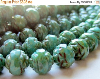 ON SALE Czech Glass Bead Fire Polished Rosebud Turquoise Picasso 7/8mm 1 Strand
