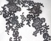 black lace appliques, retro floral lace appliques by pairs, lace appliques for garters, multiple colors available