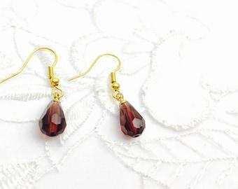 Crystal Earrings, Vintage Gold Tone Dangling, Bugundy Red Tear Drop, Summer Sale, Item No. B503