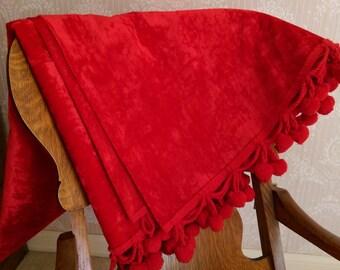 Vintage red tablecloth pom poms velvet