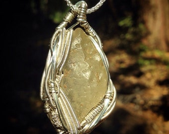 Libyan gold tektite wire wrapped pendant | .925 sterling silver wire | original handmade by Jon Hixson | sterling silver chain included