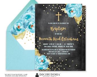 BOY BAPTISM INVITATION Boy Christening Invitation Party Religious Dedication Blue Peony Chalkboard Gold Glitter Printable or DiY - Krissy