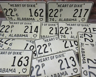 Price PER License Plate Vintage ALABAMA License Plate Metal Heart of Dixie 1974 Black & Off White vtg Man Cave Garage Sign Many Available
