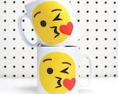 Emoji Mug, Valentines Mug, Kiss, Mug, Emoji, Valentines Day Gift, Love,  Emoticon, Home & Living, Drinkware, Cup, Ceramic, Icon, Coffee Mug