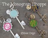 Monogrammed Skeleton Key Keychains, Black, Mint, or Pink