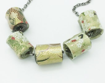 Green Blossom Japanese Paper Resin Puddle Bead Chain Necklace