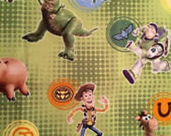Toy Story All Over Dot Green Out of Print!   100 percent cotton fat quarter 18'' x 21'' only 4.99