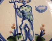 "M A Hadley Art Pottery 6"" Plate, The Farmer, Signed, Hand painted, c 1960's, Excellent condition"