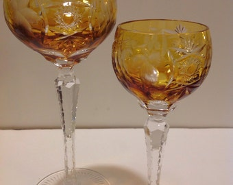 PAIR Yellow Nachtmann Cut to Clear Crystal Wine and Sherry Goblet in Excellent Condition
