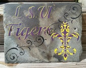 Tigers Fleur De Lis Wall Art on New Orleans Recycled Roofing Slate