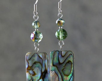 Abalone shell square shape dangling drop Earrings Bridesmaids gifts Free US Shipping handmade Anni Designs