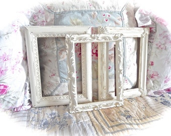 """Shabby Off White Cream Distressed Ornate Fancy Picture Photo Frames 5"""" x 7"""" Wedding Table Numbers Cottage Chic READY TO SHIP"""