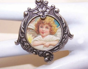 C.1900 French SILVERPLATE Metal Picture Pin/Brooch