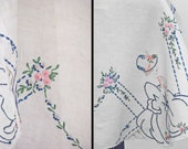 Embroidered DEBUTANTE Tablecloth // 50s Needlepoint Southern Belles 32 x 33