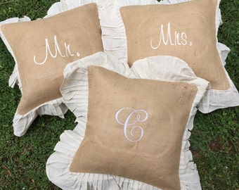 Mr.  And Mrs. Monogrammed Burlap Ruffle Pillow, Momogrammed Burplap pillows, Monogrammed wedding pillows, Monogrammed est. pillows, burlap