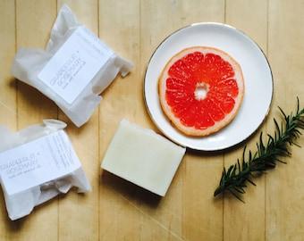 GRAPEFRUIT + ROSEMARY BAR  /cold process soap/natural/vegan/handmade/gentle/herbal/citrus/essential oils/minnesota made