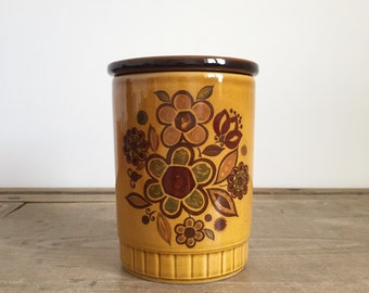 vintage 1970s Royal Worcester Palissy 'Sierra' design Floral pot, storage container, jar with lid in Mustard Yellow