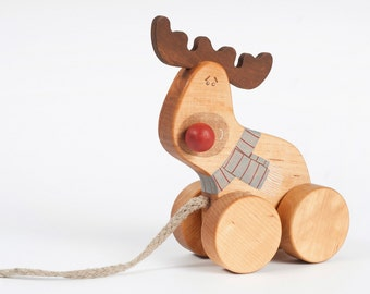 Wooden Toy Reindeer, eco-friendly pull toy
