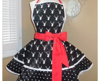 Black And White BuckPrint Accented with Red Woman's Retro Apron With Tiered Skirt And Bib