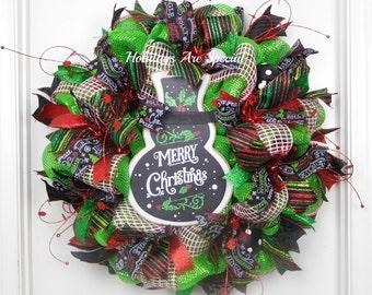 Mesh Wreath Snowman, Snowman Wreath, Christmas Wreath, Winter Wreath, Chalkboard Ribbon Wreath, Snowman Sign, Merry Christmas