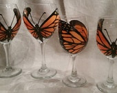 Butterfly glass_monarch_hand painted wine glass