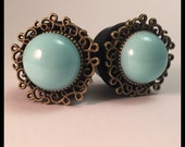 PICK SIZE Bohemian Turquoise pearl Girly Gauge Plug earings