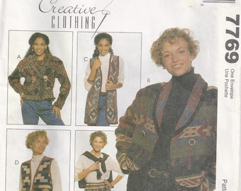 Jacket Vest And Wrap Skirt Made From Woven Cotton Afghans Size 8 10 12 14 16 Coat Sewing Pattern 1999 McCalls 7769 Plus Size