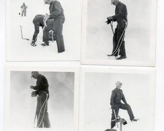 Lot Of 4 Vintage Photos Mountain Climbers Climbing For Winter Sports Memorabilia Antique Snow Storm Photograph Paper Ephemera