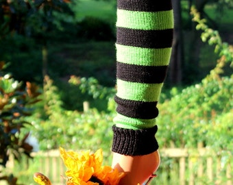 Child Black & Lime Stripe Leg Warmers 15 inches
