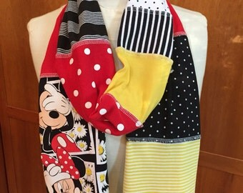 UPCYCLED t-shirt scarf ... Mickey Minnie Mouse ... Disney World ... red, yellow, black