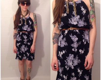 Vintage 90s Dark Navy Floral Mini Sleeveless Dress Flowers Size Medium Large