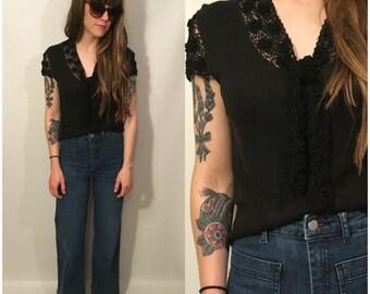 Vintage 90s Black Short Sleeve Blouse Front Tie Floral Mesh Design Goth Grunge Crop Top Shirt Retro Size Small
