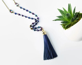 Long Navy and Royal Blue Necklace Leather Tassel