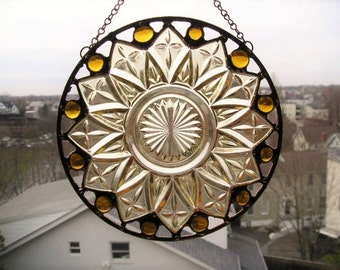 Stained Glass Suncatcher|Vintage Plate|Yellow Glass Petal Plate|Round Suncatcher|Art & Collectibles|Glass Art|Handcrafted|Made in USA