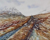 Watercolor ORIGINAL - Hiking Lairig Ghru - Scotland, highlands, trek, pass, Mar Lodge