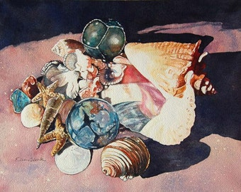 Watercolor ORIGINAL - Sunny Beach  - shells, seashells, sea glass, glass float, beach, sand, conch, souvenirs