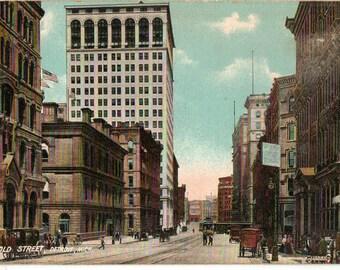 Vintage Postcard, Detroit, Michigan, Griswold Street, 1909