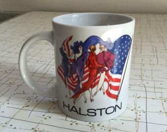 90's Halston Mug Coffee Cup Iconic American Fashion Designer