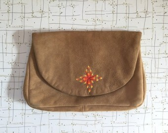 70's Suede Clutch Purse Native American Indian Beaded Envelope Bag