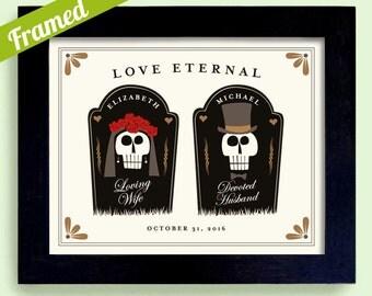 Halloween Theme Wedding Gift for Couple Graveyard Tombstone Personalized Art Print Wedding Skeleton Tattoo Couple Anniversary Gift Skulls
