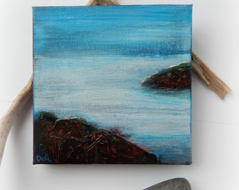 Minimalist, Original Painting,Coastal Painting, Blue, Small Painting 6x6, Seascape, Water Abstract Painting,Home Decor, Stretched Canvas