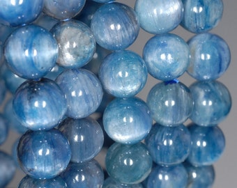7-8mm Kyanite Gemstone Grade AA Blue Round 7-8mm Loose Beads 7 inch Half Strand (80000630-259)